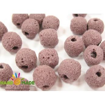 Бусины круглые лава розовоого цвета 1 см