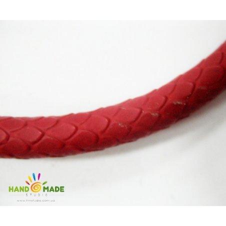 Шнур кожзам, имитация кожи питона, цвет красный, толщина 8 мм
