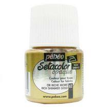 Краска для темных тканей металлик богатое золото 062 Setacolor Opaque Pebeo