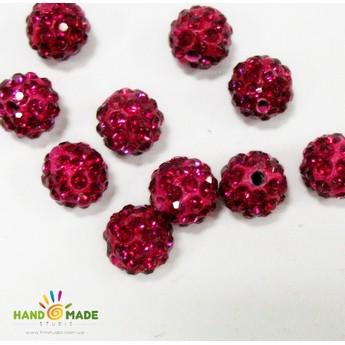 Бусина шамбала, цвет рубиновый, 1 см