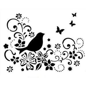 "Универсальный трафарет Viva 25,5х20,5 см ""Птица и цветы"" 9002 078 00"