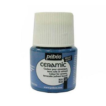 Краска-эмаль лаковая непрозрачная Ceramic Pebeo Цвет Насыщенный голубой 35