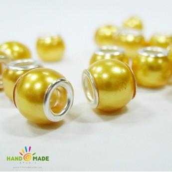 Бусина пандора круглая матовая, стекло, цвет желтый матовый 10х10 мм №60