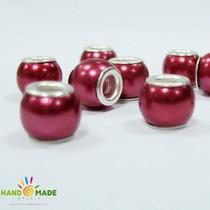 Бусина пандора круглая матовая, стекло, цвет ягодный 10х10 мм №61