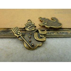 Бронзовая металлическая подвеска Снеговик с лопатой
