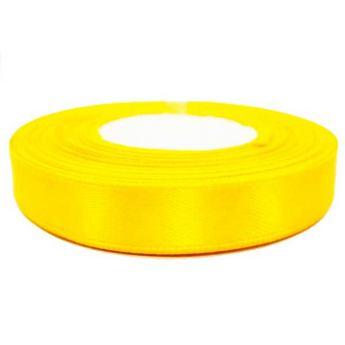 Атласная лента, цвет желтый, 12мм
