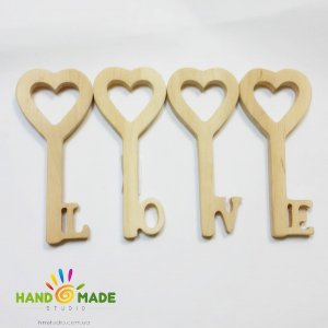 Деревянная заготовка Набор ключей LOVE