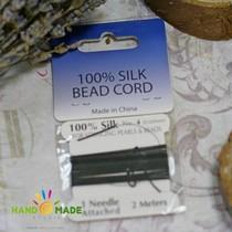 100% шелковая нить для бижутерии, цвет черный, толщина - 0,6мм