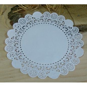 Ажурная салфетка, цвет - белый, 18 см
