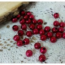 Пластиковые бусины, цвет красный, 0,7 см