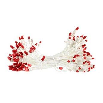 Цветочные тычинки белые с красными концами №62.1