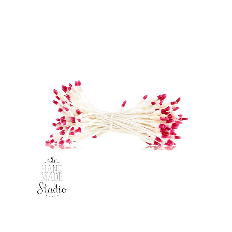 Цветочные тычинки белые с темно-розовыми концами №61.1