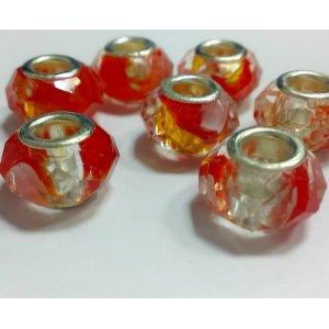 Бусина пандора граненая, стекло, цвет красный разводы 15х10 мм №71