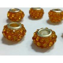 Бусина пандора круглая, стекло со стразами, цвет золотой 10х15 мм №79