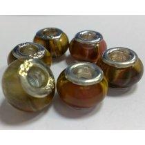 Бусина пандора круглая, керамика, разводы 13х10 мм №80