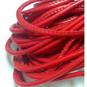 Шнур кожзам, цвет красный, толщина 5 мм