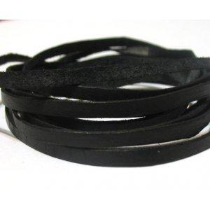 Кожаный шнур плоский, цвет черный, 3 мм