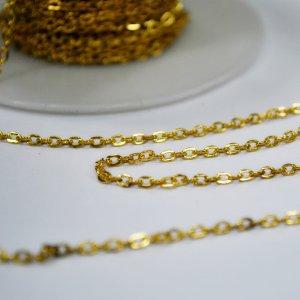 Цепь плоское звено 2х3 мм, цвет - золото