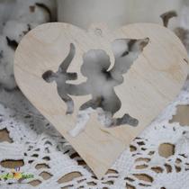 Деревянная заготовка Сердце с ангелом, 10,5х11,5 см