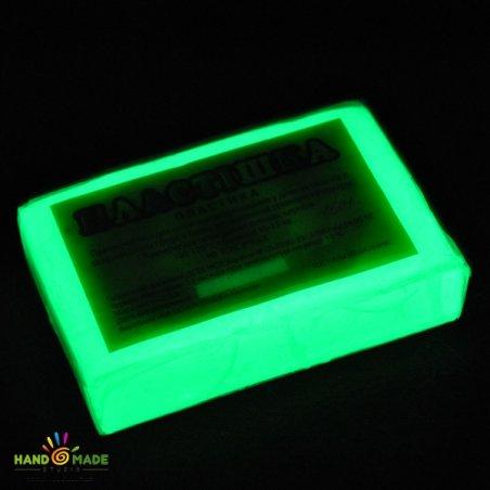 Полимерная глина белая фосфоресцентная зеленого свечения, 250г,0501
