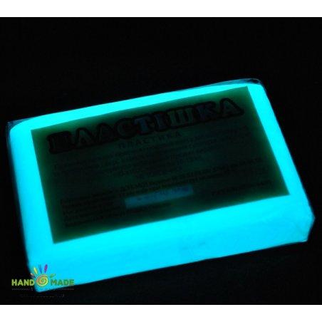 Полимерная глина пластишка белая фосфоресцентная бирюзового свечения, 75 г 0502