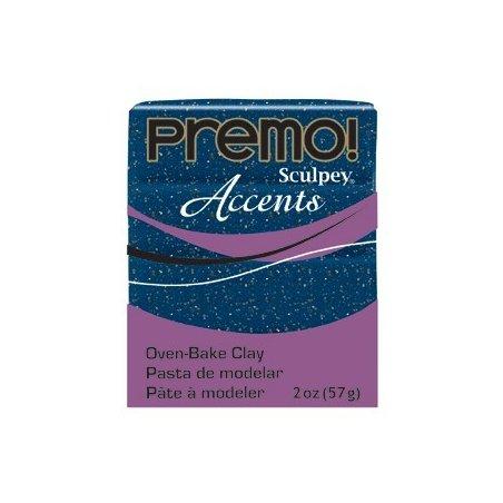 Полимерная глина Premo Accents синий с глиттером, 5049