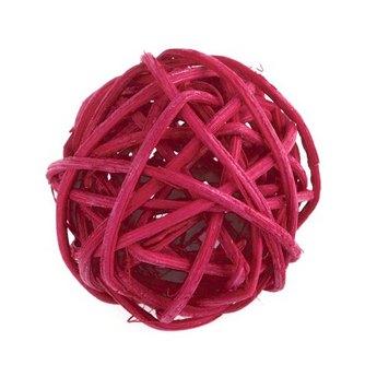 Шарик из ротанга, цвет красный, 3 см.