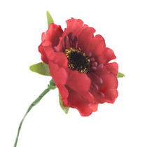 Цветочек из ткани, цвет - красный