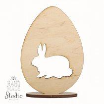 Деревянная заготовка Яйцо и зайчик на подставке, 12х8,5 см