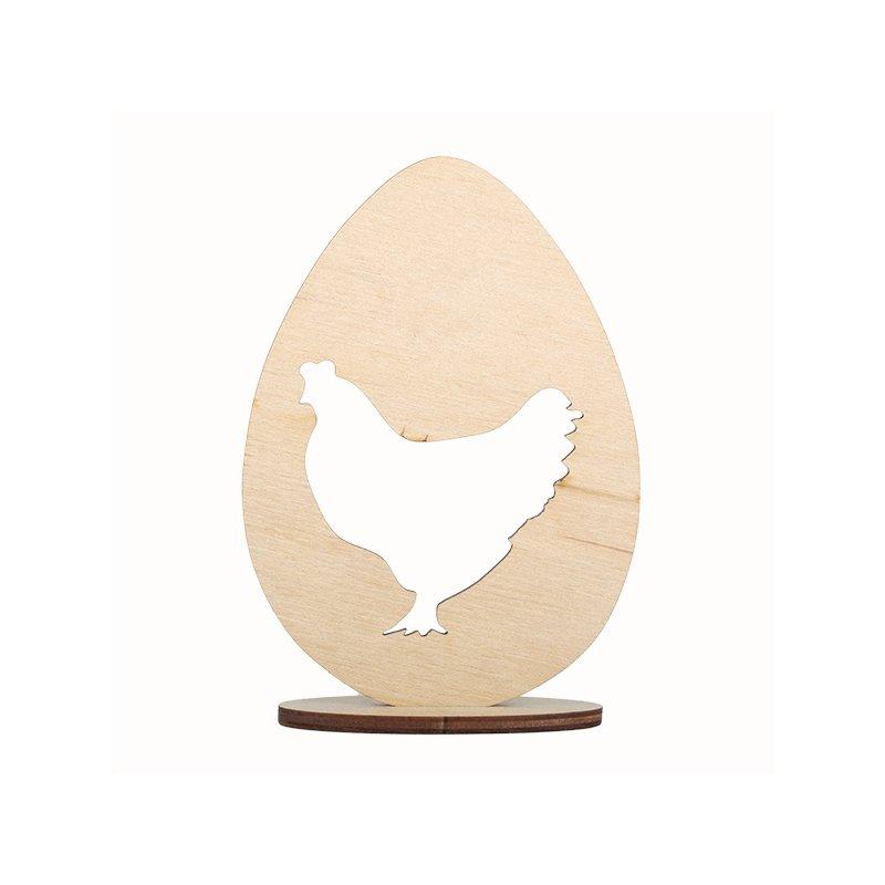 Деревянная заготовка Яйцо и петушок на подставке, 12х8,5 см