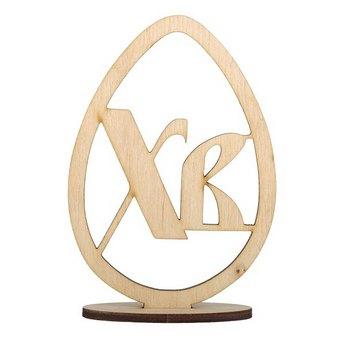 Деревянная заготовка Яйцо ХВ на подставке №1, 12х8,5 см