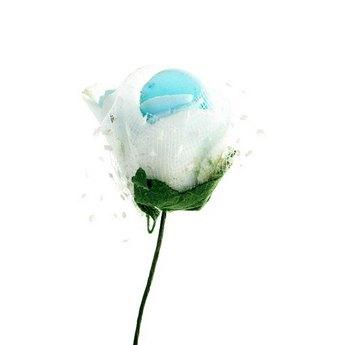 Маленькая розочка с фатином, цвет бело-голубой 2 см