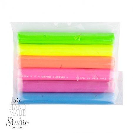 Набор полимерной глины флюоресцентной пластишка/Bebik, 6 цветов.