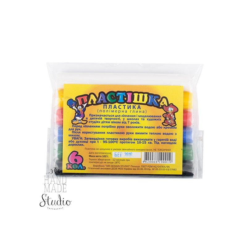Набор полимерной глины  пластишка/Bebik, 6 цветов обычных.