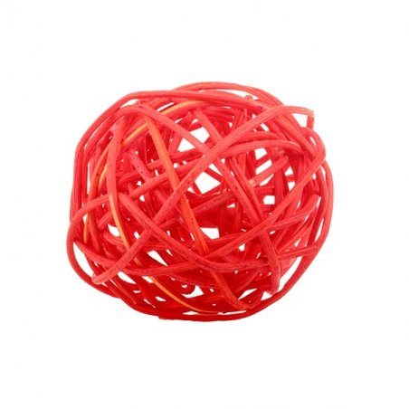 Шарик из ротанга, цвет коралловый, 5 см.