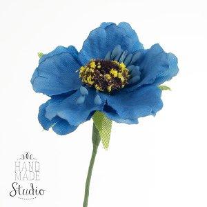Цветочек из ткани, цвет - синий