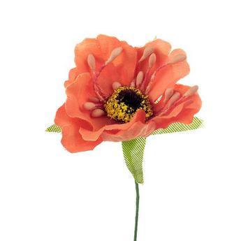 Цветочек из ткани, цвет - оранжевый