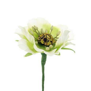 Цветочек из ткани, цвет - бело-салатовый