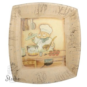 Тарелка стеклянная в стиле прованс Повар
