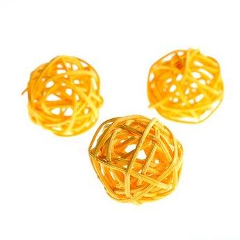Шарик из ротанга, цвет оранжевый, 7 см.