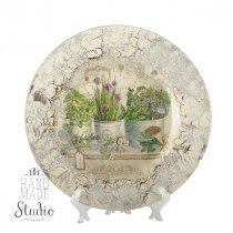 Тарелка стеклянная (декоративная) в стиле прованс Травы