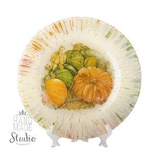 Тарелка стеклянная в стиле прованс Тыковки