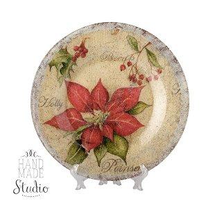 Тарелка с пуансеттией