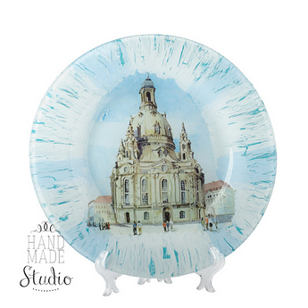 Тарелка стеклянная в стиле прованс Город