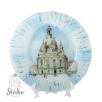 Тарелка стеклянная (декоративная) в стиле прованс Город