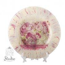 Тарелка стеклянная (декоративная) в стиле прованс Розы