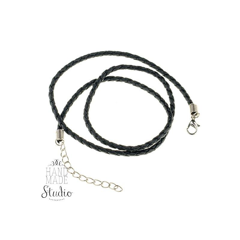 Шнурок косичка, цвет черный, 45см