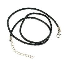 Шнурок косичка, цвет черный (45см)