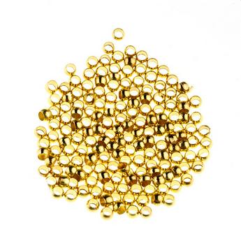 Бусина металлическая круглая, цвет золотой, 2,5 мм