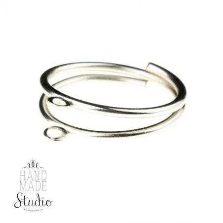 Основа для кольца с двумя петельками, цвет - сталь